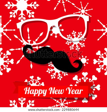 raster Hipster happy new year card with glasses, mustache and a ribbon on snowflakes patterned background. New year party invitation template. Merry Christmas card template. - stock photo