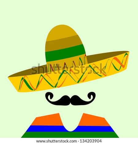 raster hispanic man with sombrero and large mustache - stock photo