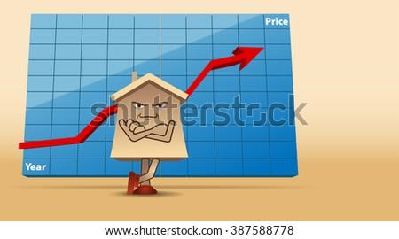 Raster Humorous Concept Illustration of Real Estate Market - stock photo