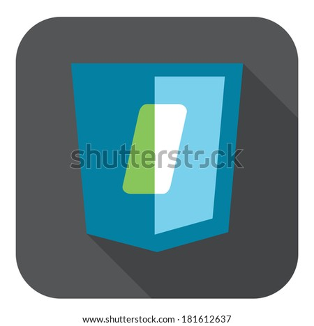 raster icon of blue javascript mobile framework shield, isolated simple flat illustration on white background
