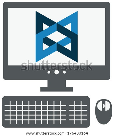 raster icon of personal computer with backbone js sign on the screen, isolated grey simple flat illustration on white background - stock photo