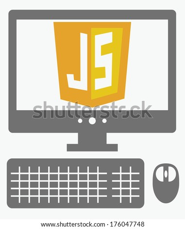 raster icon of personal computer with javascript shield on the screen, isolated simple flat illustration on white background - stock photo