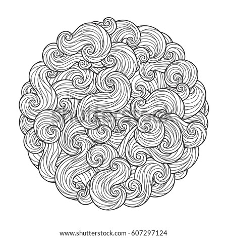 Raster illustration. Abstract Round Sea Wave Mandala with curls, swirls, hairs isolated on white background. Coloring book for adult and older children. Editable   illustration.