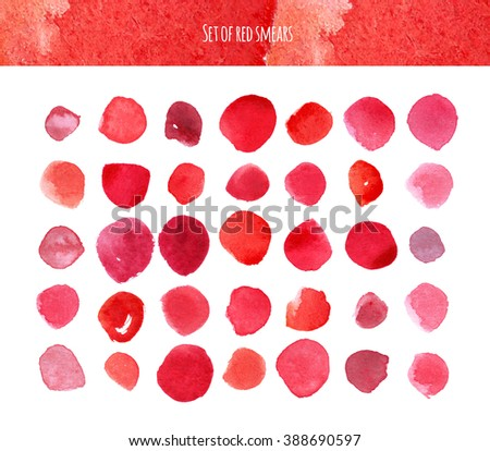 Raster illustration based on red watercolor smears, dots and brush daubs. Different blots, ready to use, isolated on white, graphic, simple, stylish.