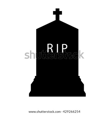 Raster illustration black silhouette gravestone. Tombstone icon.  - stock photo