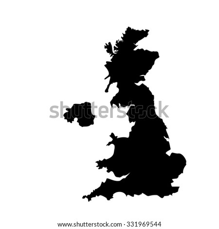 raster illustration black silhouette of uk map. England map. United Kingdom of Great Britain. Uk map counties - stock photo