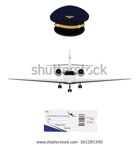 Raster illustration blue pilot cap with badge, uniform. Civil aviation and air transport. Airplane ticket plane ticket, boarding pass, check in. Private business jet - stock photo