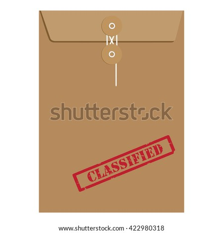 Raster illustration brown paper envelope sealed with string with red grunge rubber stamp with text classified