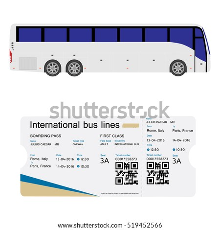 Exceptional Raster Illustration Bus And Boarding Pass Ticket Template Design Isolated  On White. Realistic Transport Ticket With Bus Pass Template