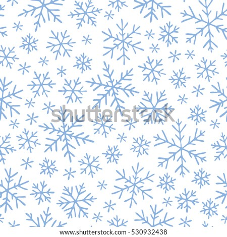 Raster illustration. Christmas seamless doodle pattern with snowflakes