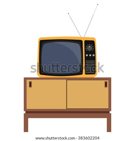 Raster illustration classic living room interior design with retro tv and furniture.