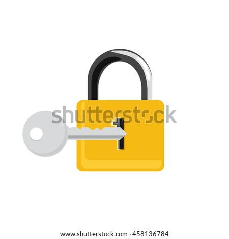 Raster illustration closed golden lock and silver key isolated on white background. Lock, key icon set, collection. Padlock