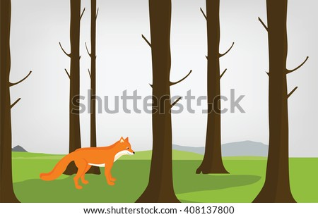 Raster illustration cloudy autumn forest landscape and red cute fox. Forest background - stock photo