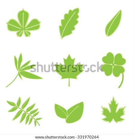raster illustration collection of green leaves icons. Autumn leaves