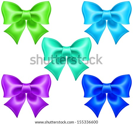 Raster illustration - collection of silk bows in cool colors.