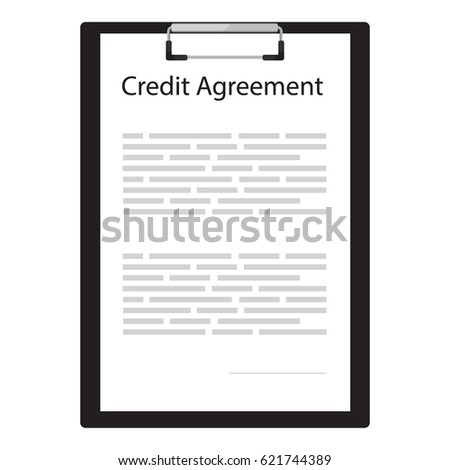 Raster Illustration Credit Contract Agreement Document Stock