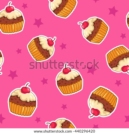 Raster illustration. Cute seamless pattern with cupcakes and stars on pink background, childish texture