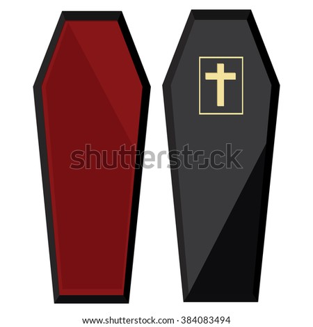 Raster illustration elegant black coffin with cross. Closed coffin - stock photo