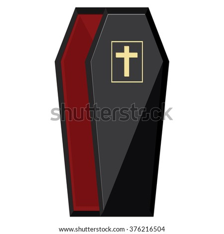 Raster illustration elegant black coffin with cross. Opened coffin with red cloth inside - stock photo