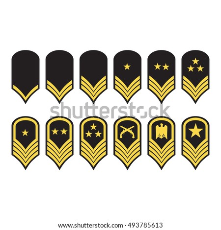 Raster illustration epaulets, military ranks and insignia isolated on white background.