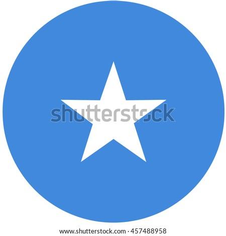 raster illustration flag of Somalia icon. Round national flag of Somalia. Somalia flag button - stock photo