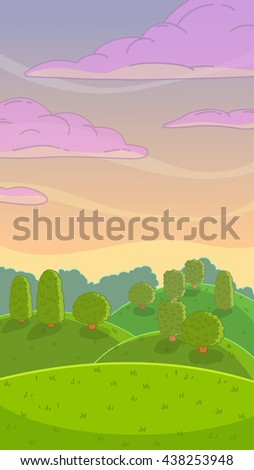 Raster illustration. Funny cartoon evening nature landscape, vertical size background for mobile phone screen - stock photo