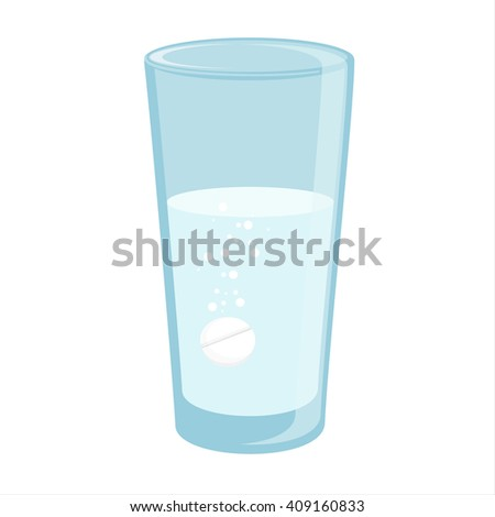 Raster illustration glass with water and tablet in it. Effervescent pill, tablet