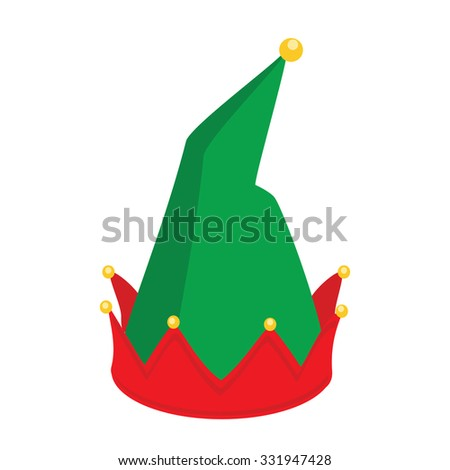 raster illustration green gnome hat santa claus helper.  - stock photo
