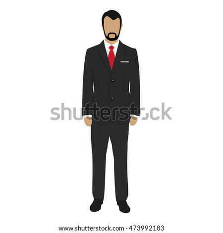 Raster illustration handsome young business man cartoon character. Young man. Businessman