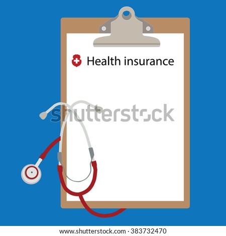Raster illustration health insurance concept design. Clipboard and stethoscope. - stock photo