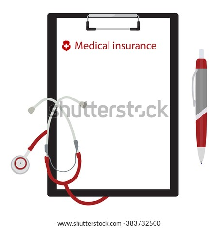 Raster illustration health, medical insurance concept design. Clipboard and stethoscope. - stock photo