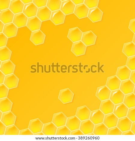 Raster illustration. Honey Sweet pattern, a plurality of repeating elements. Abstract background with free place for inscriptions, flyers, leaflets, banners for beekeepers. Modern design, glossy cell.