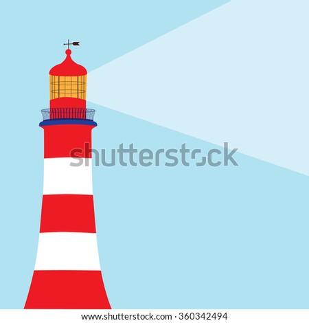 Raster illustration lighthouse on blue background. Lighthouse icon. Lighthouse light - stock photo