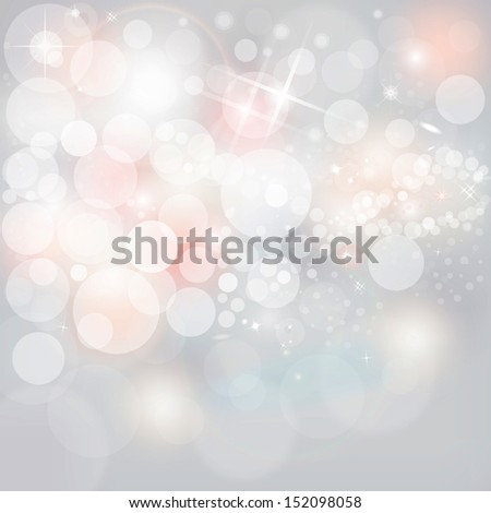Raster Illustration Neutral Grey Christmas Holiday Abstract Background With White & Pink Lights And Stars - stock photo