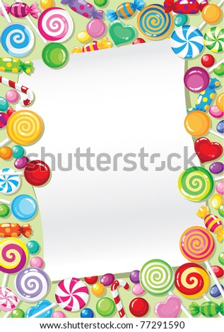 raster illustration of a candy card