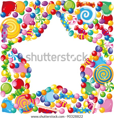 raster illustration of a candy star - stock photo
