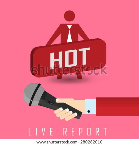 raster illustration of a live report with button live hot news and microphone - stock photo