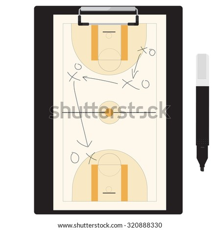 raster illustration of basketball tactic plan on clipboard with marker pen. Basketball tactic board. Writing a basketball game strategy on a blackboard.  - stock photo