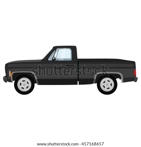 raster illustration of black, grey pick-up truck. Classic pickup truck.
