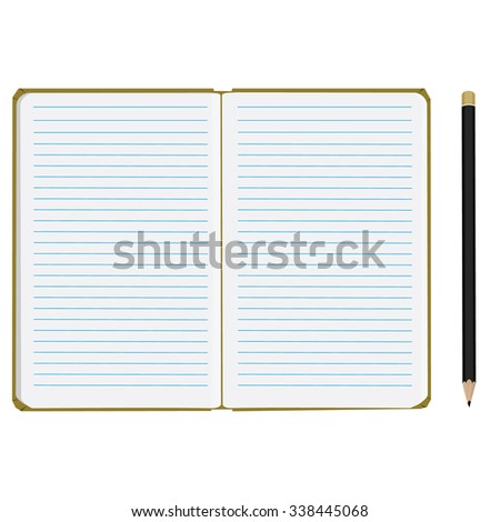 raster illustration of blank empty  notepad, notebook. Opened notebook. Lined paper and black pencil