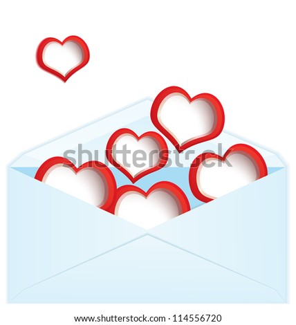 Raster illustration of blue envelope filled with red hearts