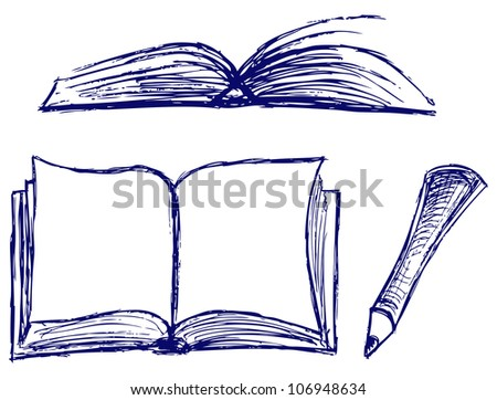 Raster illustration of books isolated on the white background