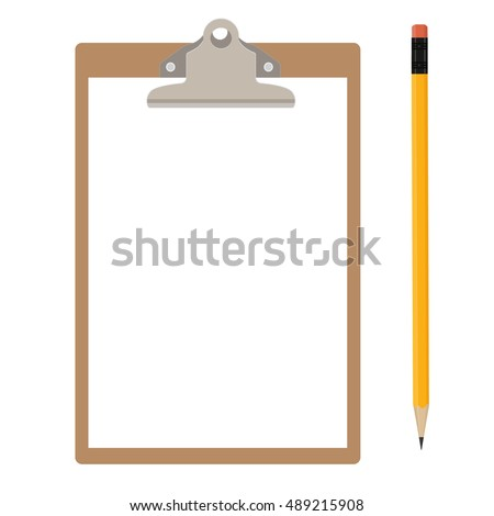 Raster illustration of brown clipboard with white, empty paper and pencil. Clipboard icon
