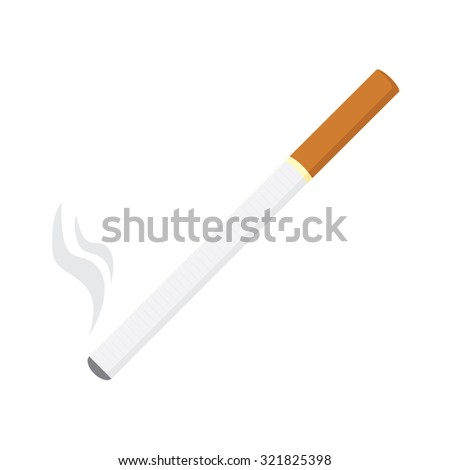 raster illustration of burning cigarette, tobacco, smoking symbols - stock photo