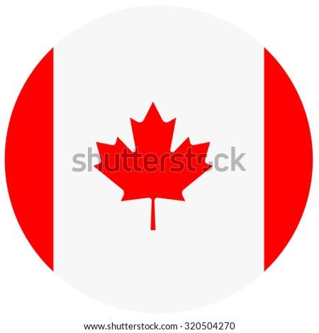raster illustration of canada flag. Round national flag of canada. Canadian flag - stock photo