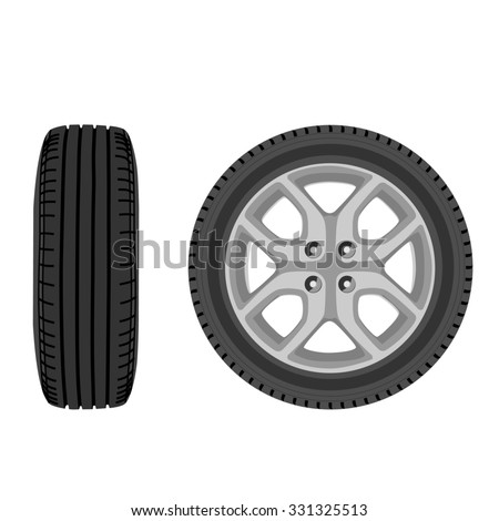 raster illustration of car wheel front and side view. Transport wheel. Car tire