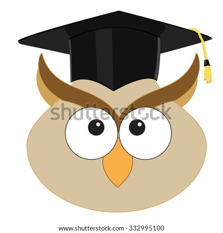 Raster Illustration Cartoon Wise Owl Graduation Stock Illustration