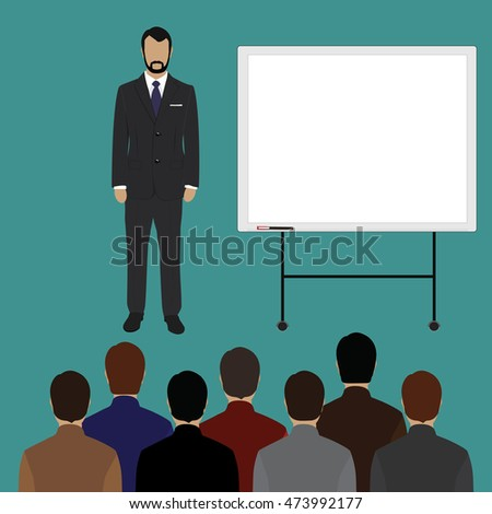 Raster illustration of conference room. People at the conference hall. Business meeting template.
