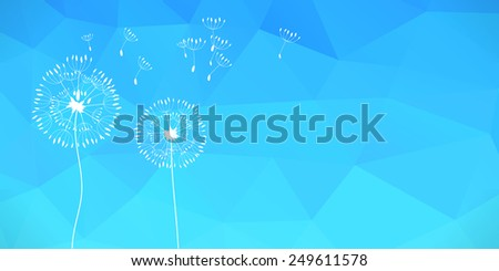 Raster  illustration of dandelions on a wind loses the integrity, blue polygonal background. - stock photo