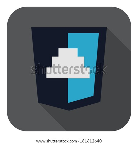 raster illustration of dark blue shield with javascript button, isolated web site development icon on white background - stock photo